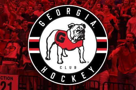 UGA Hockey logo- bulldog in circle with red photo of fans behind