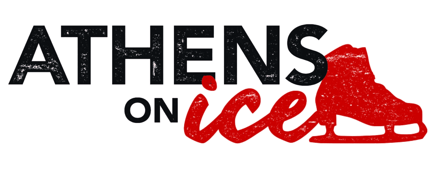 Athens on Ice logo black text and red skate