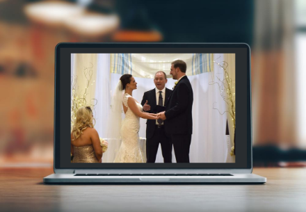 virtual wedding over laptop
