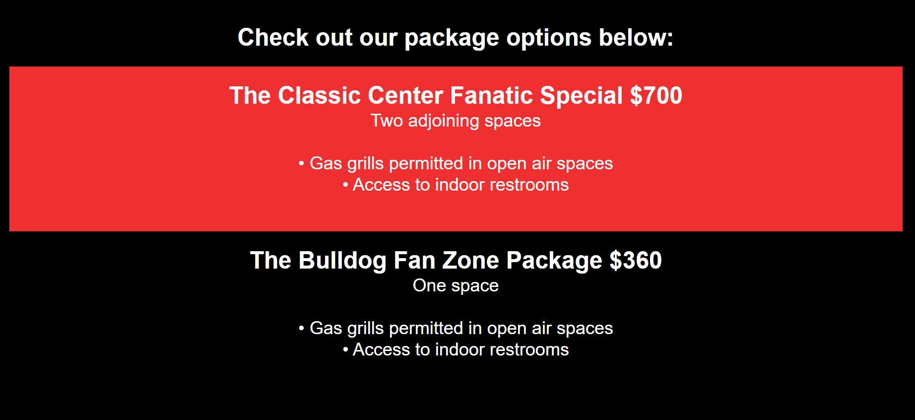 classic center football parking 2021 packages